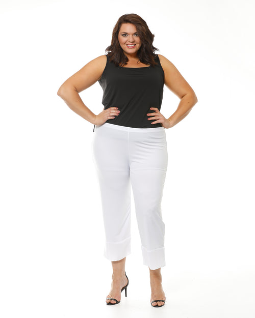 Crop Ayva Chiffon Pants -White