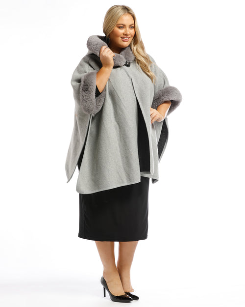 Lux Poncho Coat With Hood - Silver