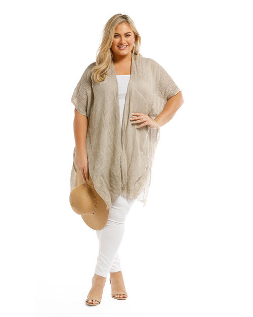 Lightweight Cover Up - Sequin Trim Sand - 100% Cotton