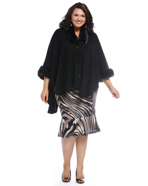 Super Soft Knit Cover Up with Fur Trim - Black
