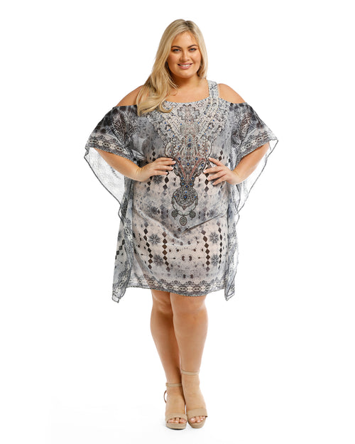Silver Animal Kaftan Dress
