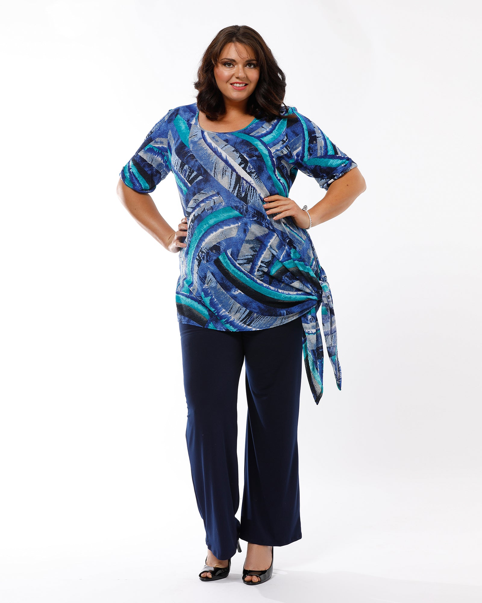 Blue Swirl Coleen Split Tie Top