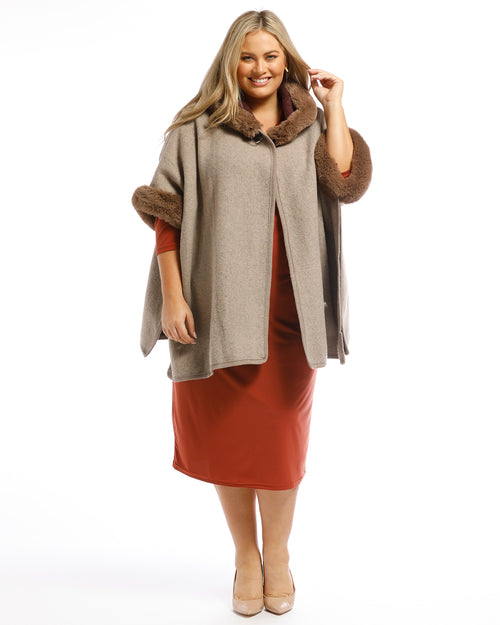 Multi Pack Lux Poncho Coat With Hood Chocolate & Silver