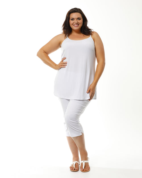 Long Soft Knit Singlet- White Size 24 only