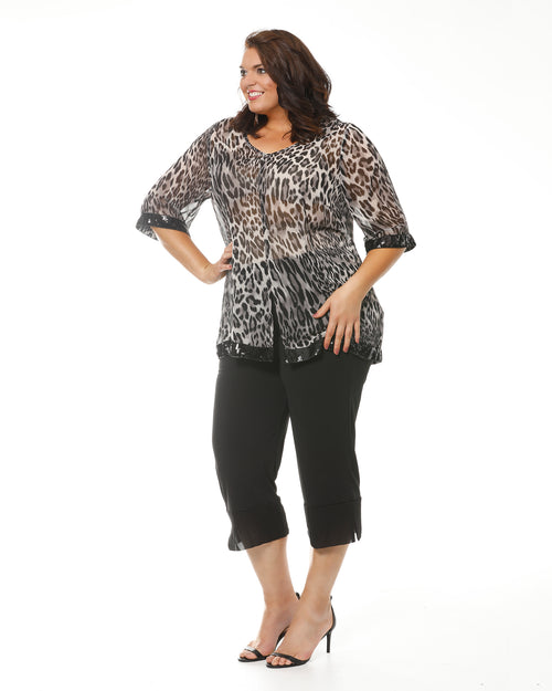 Plus size evening tops, leopard print top, animal print top, plus size womens clothing, RTM