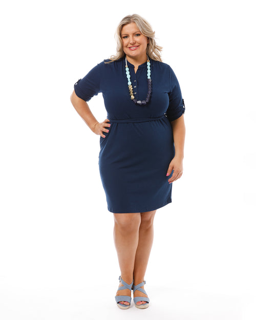 Tab Sleeve Dress -Navy- 10-18