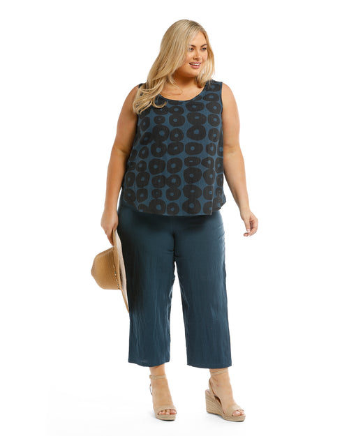 Demi 100% Linen top - Blue