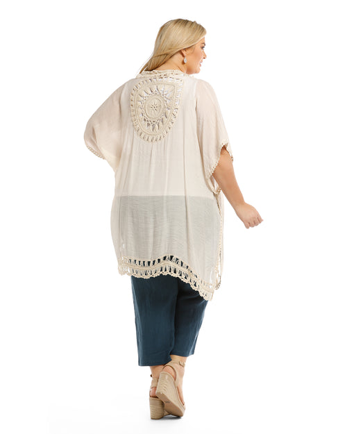 Cotton Embroided Cape - Natural
