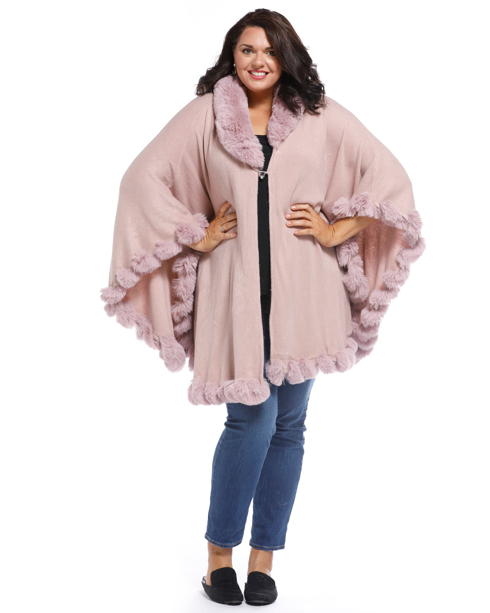 Luxurious Super Soft Knit Cover Up with Fur Trim - Pink