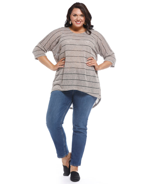 Melissa Stripe Top - Beige Limited Sizes 12,14,18,22,24