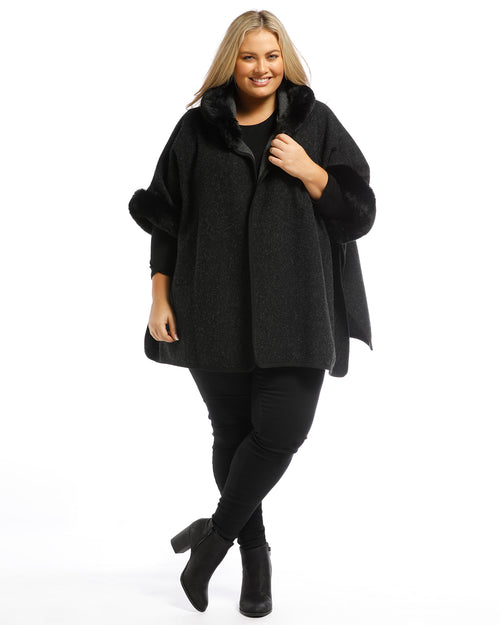 Lux Poncho Coat With Hood - Black Back Order 13th Jan