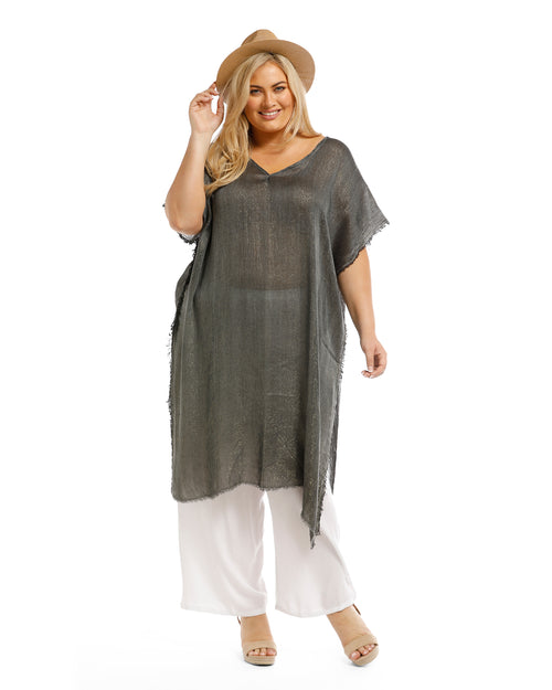 Metallic Kaftan -Long - Dark Green