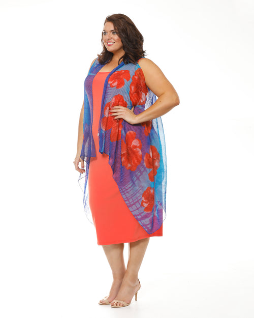 Chiffon Vest - Blue /Orange Flower
