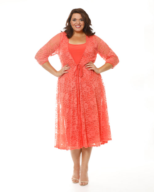 Plus size ladies clothing jacket, Room To Move, Orange Lace