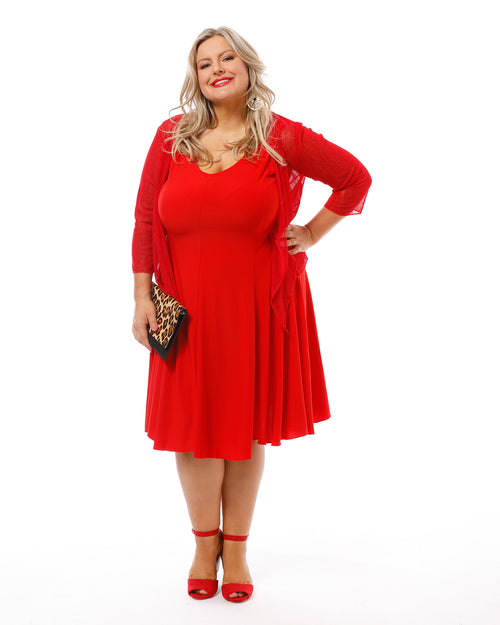 Knit Dress - Red- Size LAST ONE SIZE 12/14