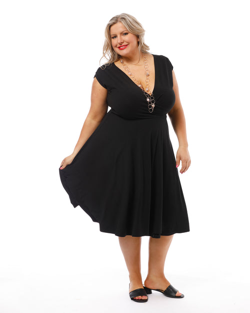 Wrap Dress - Black size 10-24