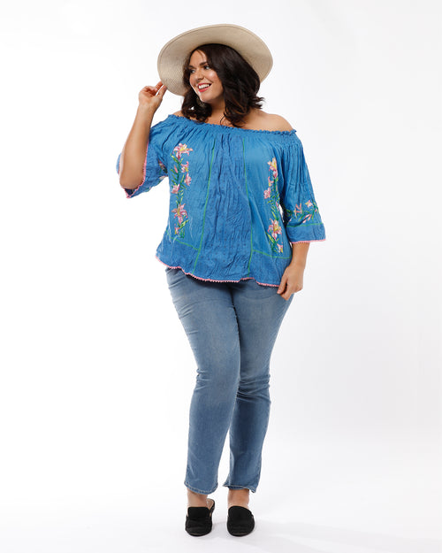 Ella Cotton Embroided Romance Top - Blue- Last 18