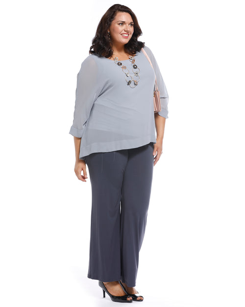 Ruth Chiffon Overlay Top - Silver Size 14,18, 22, 24,26