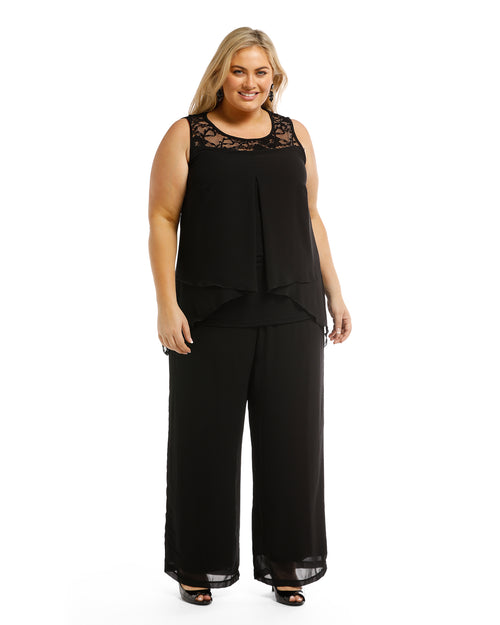 Helen Chiffon Overlay Pants - Black- Sizes 12- 18 Left