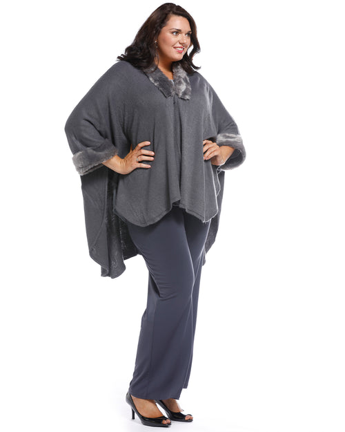 Super Soft Knit Cover Up with Fur Trim - Grey