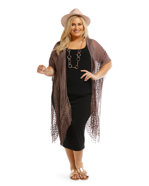 Lightweight Cover Up - Embroidery Trim Chocolate- 100% Cotton