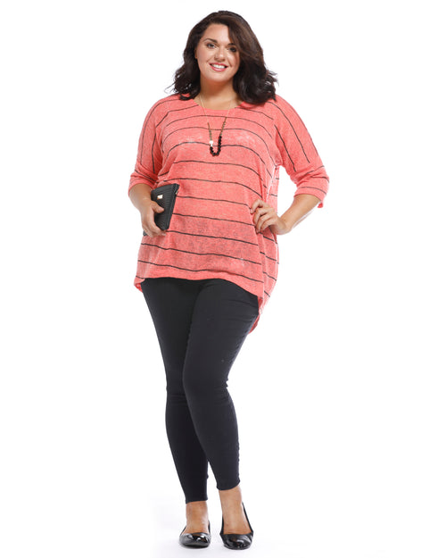 Melissa Stripe Top - Peach -Size 18 only