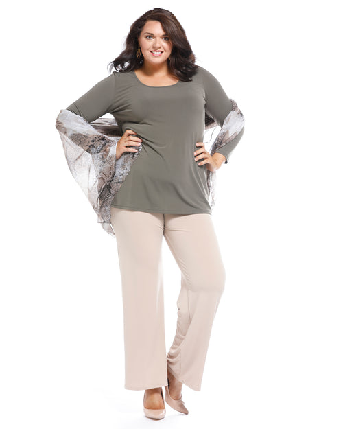 Soft Knit Long Sleeve Top-Khaki