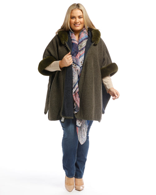 Lux Poncho Coat With Hood - Winter Green