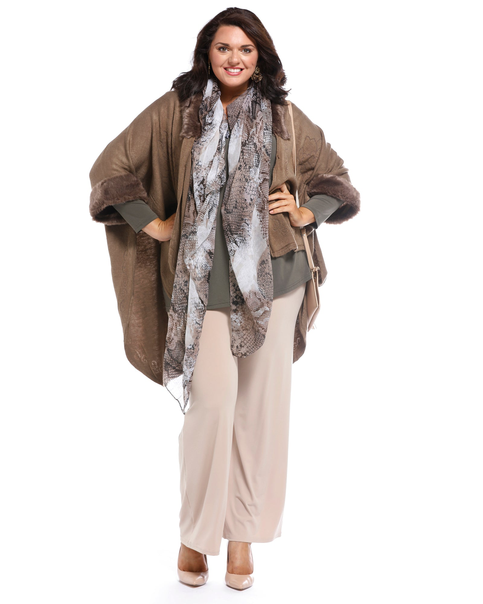 Super Soft Knit Cover Up with Fur Trim - Brown