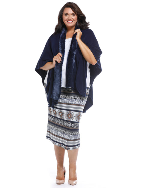 Super Soft Knit Cover Up with Fur Trim - Navy