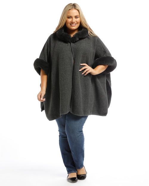 Multi Pack Lux Poncho Coat With Hood Charcoal & Silver