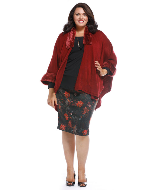 Super Soft Knit Cover Up with Fur Trim - Red