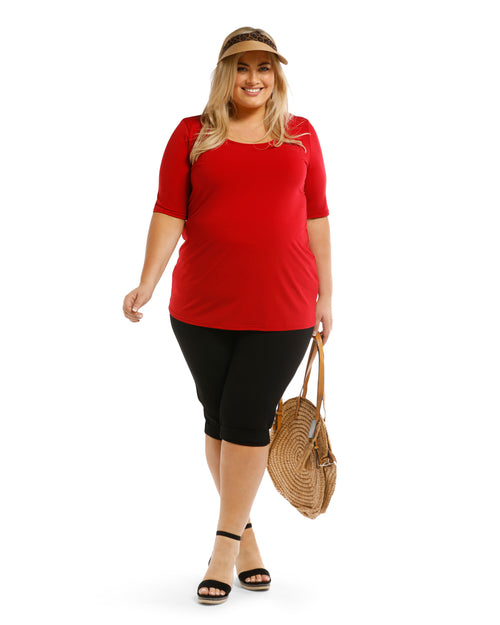 Short Sleeve Soft Knit Top - Red Size 12 &14 left