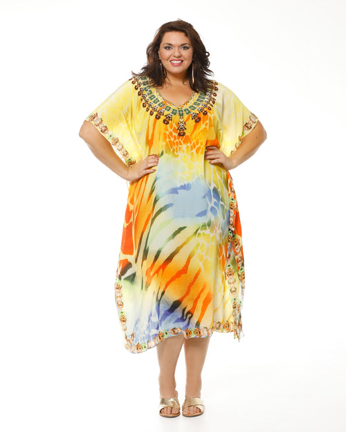 Yellow Print Kaftan-long LAST ONE