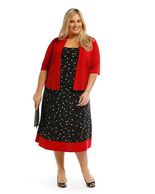 2 piece Set- Dianna Spot Dress & Jacket Size 12-20 left
