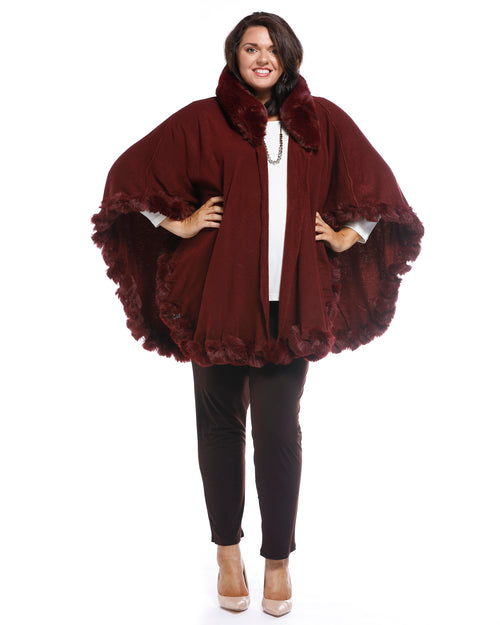 Luxurious Super Soft Knit Cover Up with Fur Trim - Berry