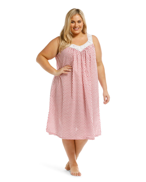 100% Cotton Sleeveless Nightie - Cherry