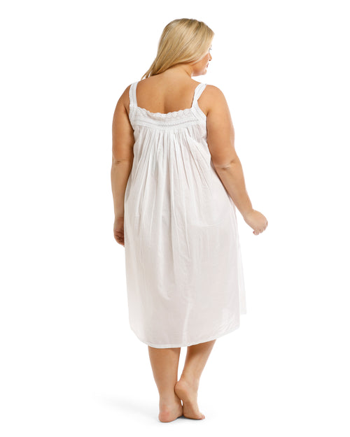 100% Cotton White Broderie Sleeveless Nightie