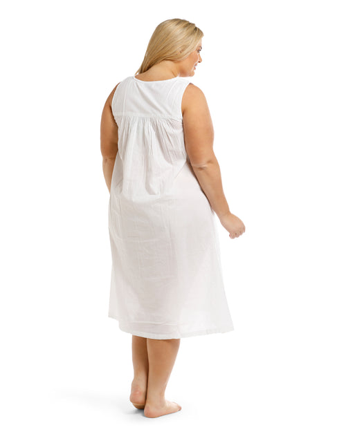 100% Cotton White Sleeveless Nightie