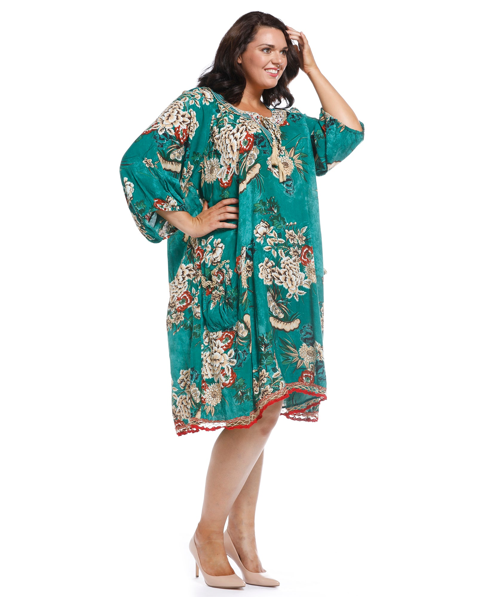 Sao Paula Dress - Asbury Print -Emerald