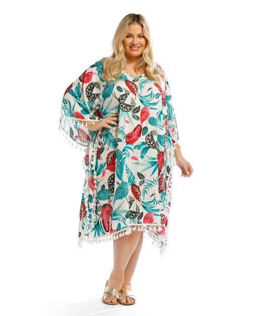 Teal Floral Long Kaftan - Side Tassles
