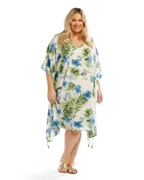 Blue Hibiscus Floral Long Kaftan - White