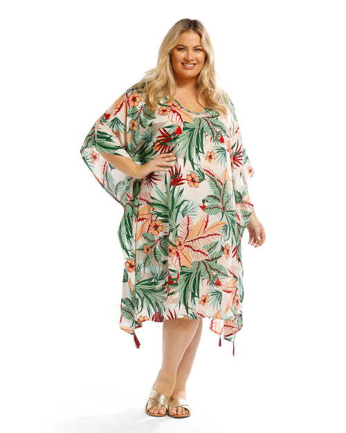 Paradise Flower Long Kaftan - Side Tassles