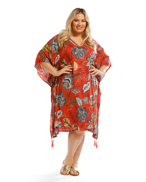 Red Floral Print V Neck Long Top - Red