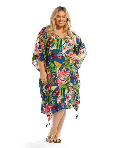 Palm Floral Long Kaftan - Blue