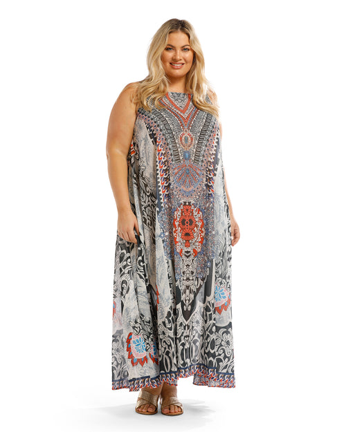 Long Kaftan Maxi Dress- Denim