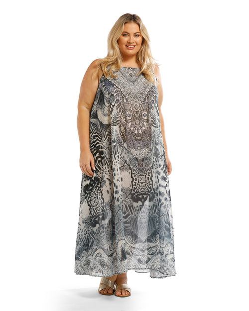 Long Kaftan Maxi Dress- Silver