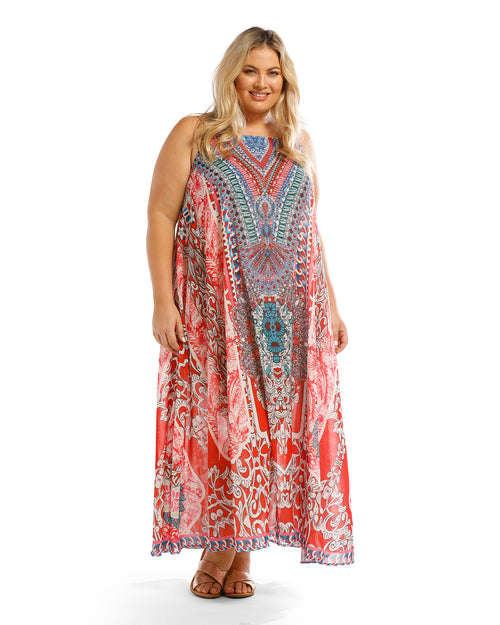 Long Kaftan Maxi Dress- Pink