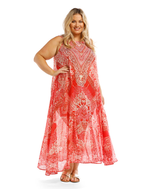Long Kaftan Maxi Dress-Red