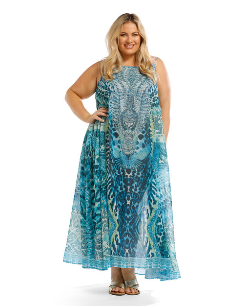 Long Kaftan Maxi Dress-Emerald Green